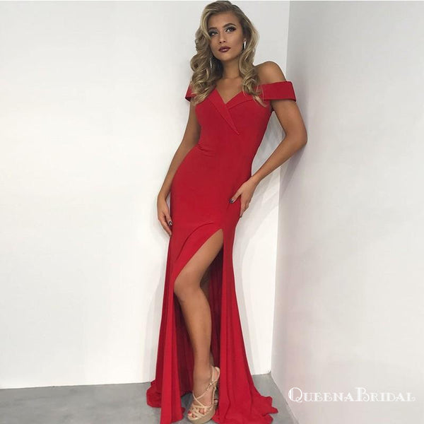 Charming Mermaid Off-Shoulder Long Cheap Red Prom Dresses with Split, QB0501