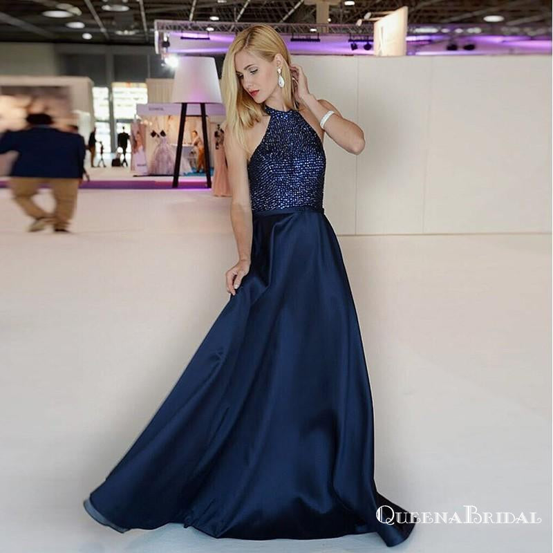 A-Line Halter Long Cheap Navy Blue Prom Dresses with Beading, QB0523