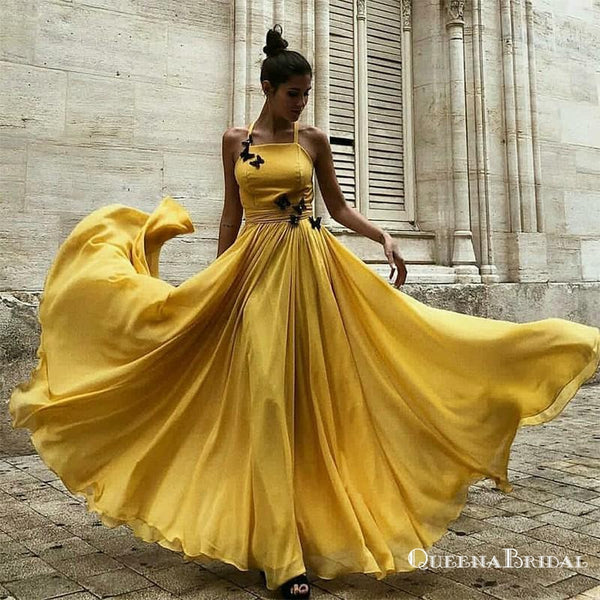 A-Line Halter Long Cheap Yellow Chiffon Prom Dresses with Applique, QB0504