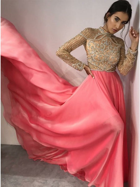 Fancy High Neck Long Sleeves Pink Evening Prom Dresses with Beading, QB0770