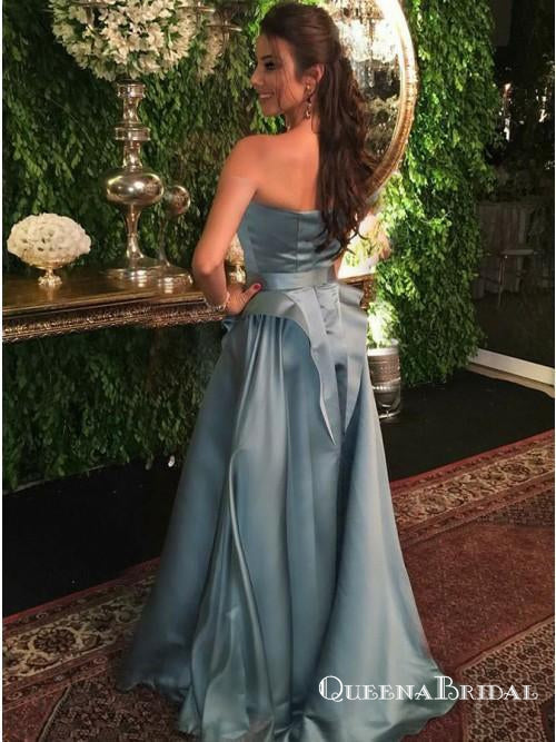 A-Line Strapless Sleeveless Blue Sweep Train Prom Dresses with Ruffles, QB0733