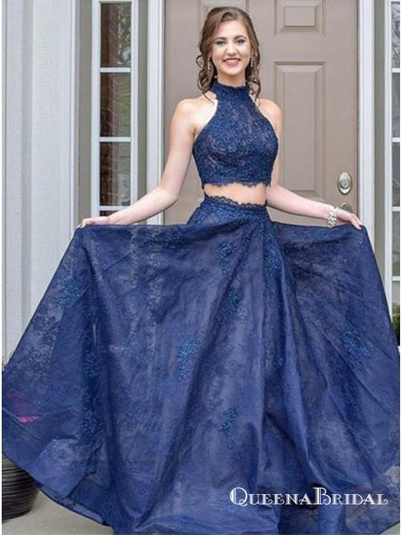 Two Piece Halter Neck Sleeveless Blue Long Prom Dresses with Lace, QB0732