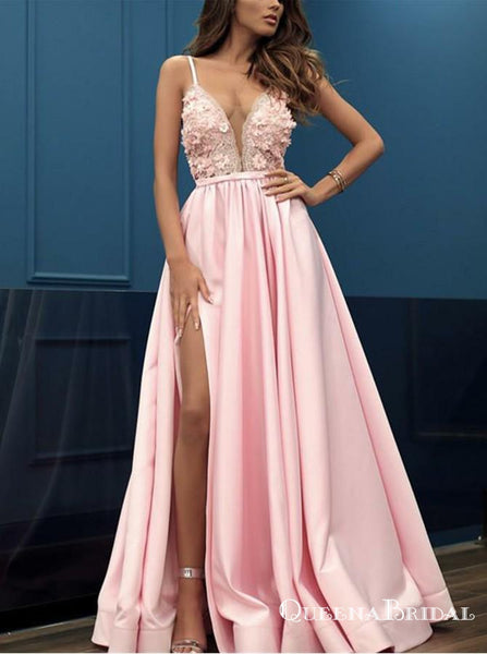 Charming Pink V-neck Sleeveless Split Prom Dresses with Appliques, QB0552