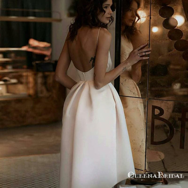 A-Line Spaghetti Straps Backless Tea-Length White Prom Dresses with Pockets, QB0493