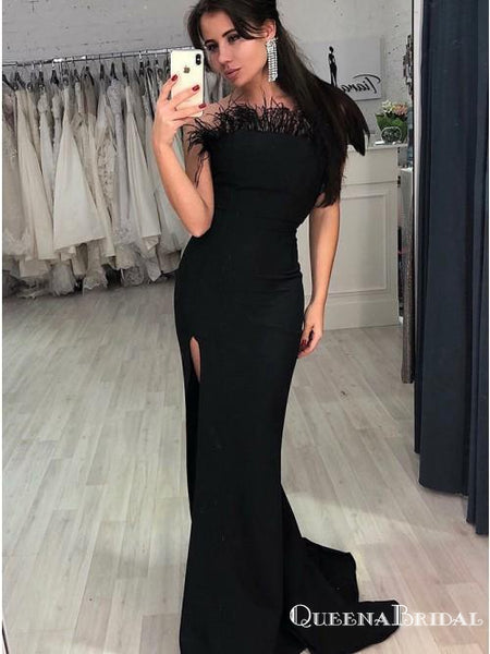 Mermaid Strapless Backless Black Long Cheap Prom Dresses with Feather, QB0797