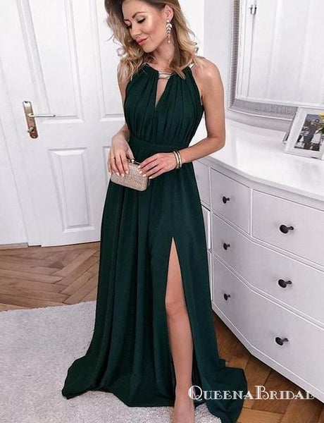 Halter Open Back Long Dark Green Prom Dresses With Keyhole Split, QB0618