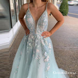 A Line Spaghetti Straps Light Blue Prom Dresses With Beading Appliques, QB0682