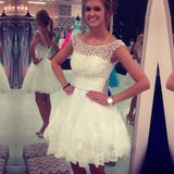 Pretty Bateau White Short Cheap Homecoming Dresses with Appliques & beaded, QB0190