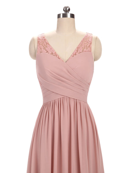 Dusty Pink V Neck Lace Straps Long Chiffon Cheap Bridesmaid Dresses Online, WG280