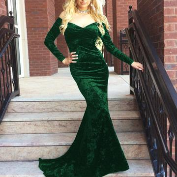V Neck Off Shoulder Velvet Long Sleeves Mermaid Prom Dresses, QB0549
