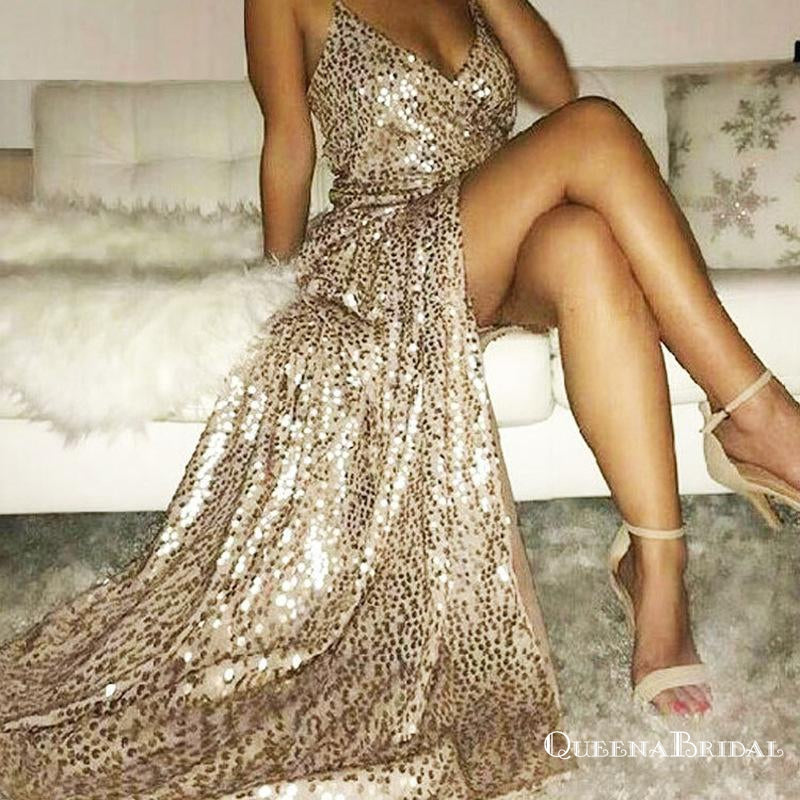 2019 Gold Sparkly Side Slit Long Sexy Evening Prom Dresses, QB0441