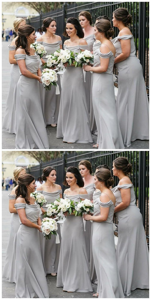 Off Shoulder Spahgetti Straps Grey Chiffon Long Bridesmaid Dresses Online, WG210