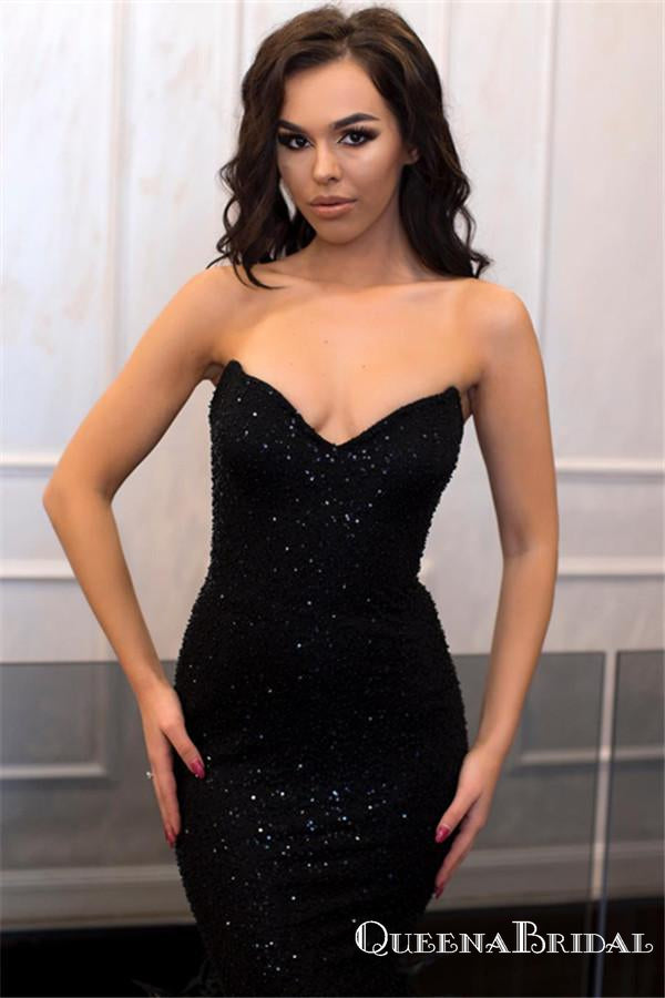 Sweetheart Sexy Charming Sleeveless Sparkly Black Sequin Mermaid Formal Long Cheap Prom Dresses, PDS0028
