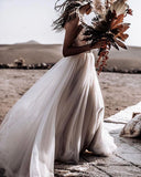 New Arrival V-neck Beaded Tulle A-line Long Cheap Beach Wedding Dresses, WDS0045