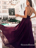 Simple Spaghetti Straps Burgundy Long Prom Dresses With Split, QB0635
