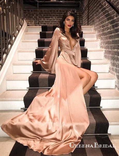 Deep V Neck Champagne Long Sleeves Party Gowns Prom Dresses with Split, QB0775