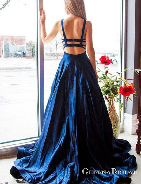 Charming Navy Blue Long Cheap Spaghetti Straps Backless Prom Dresses, QB0638