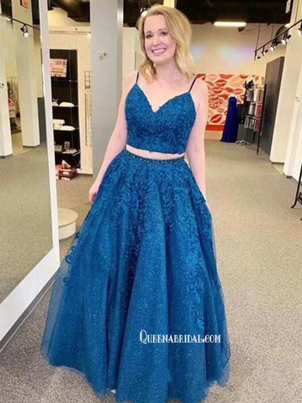 Elegant Two Pieces Dark Blue Lace A-line Long Cheap Prom Dresses, PDS0108