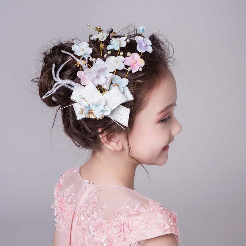 Newest Colorful Hand-Made Flowers With Feather Flower Girl Headpiece, Wedding Headpiece, VB0591