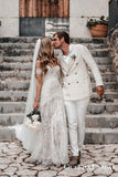 Boho Style Summer Lace Long Cheap Mermaid Wedding Dresses, QB0817