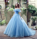 Blue Princess Off Shoulder A-line Long Evening Prom Dresses, QB0379