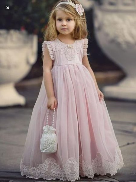 923f52fc1c0 Cheap Pink Tulle Lace Applique Ball Gown Little Long Flower Girl Dresses