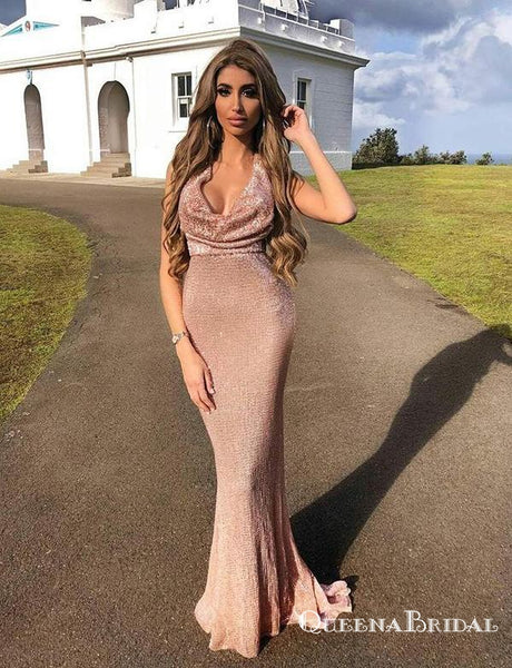 Halter Pink Sequin Long Mermaid Evening Dresses Backless Prom Dresses, QB0776