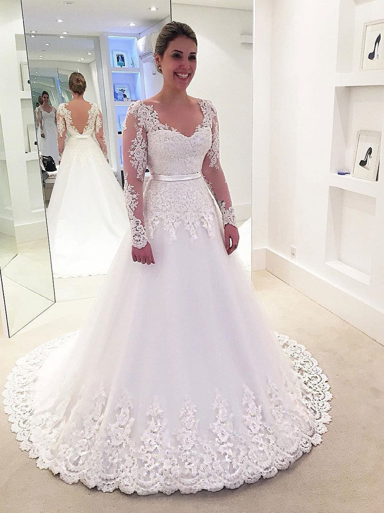 Long Sleeve Lace Backless A-line Cheap Wedding Dresses Online, WD338