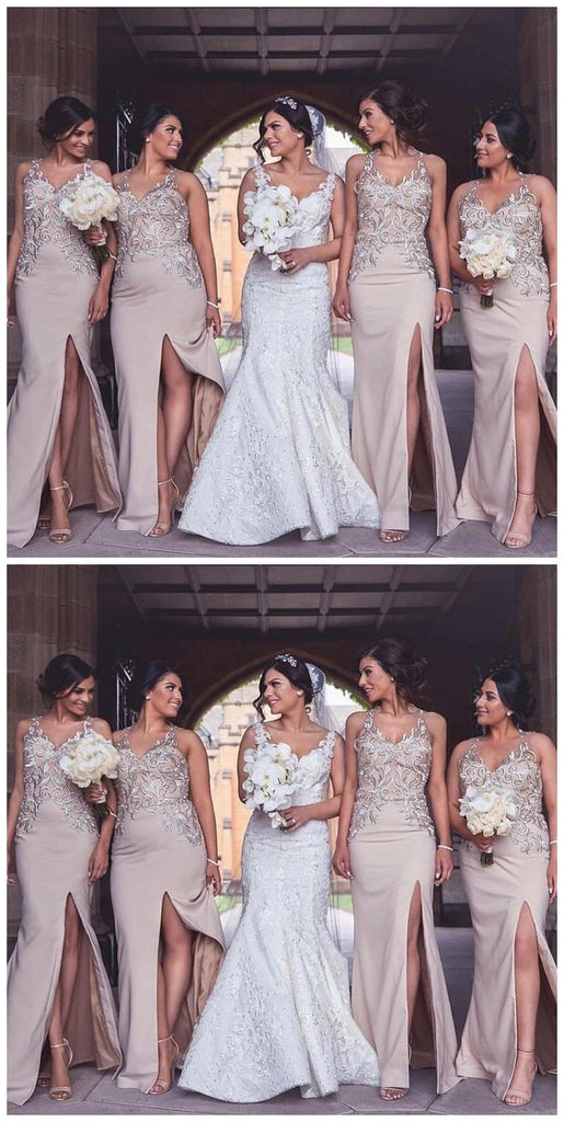 Halter Sexy Side Slit Mermaid Cheap Long Bridesmaid Dresses Online, WG216