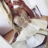 A-Line Crew Neck Cap Sleeves Gold Lace Appliques Homecoming Dresses, QB0050