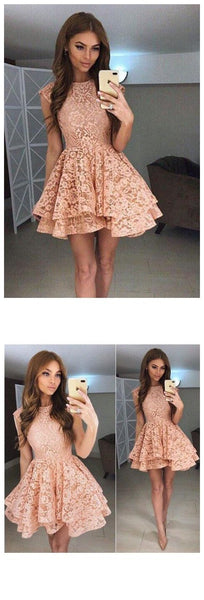 High Neck Peach Lace Cute Short Homecoming Dresses 2018, CM559