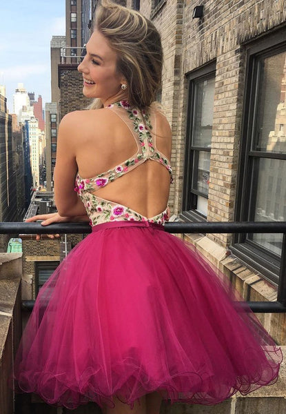 Sexy Open Back V neck Hot Pink Lace Cheap Homecoming Dresses 2018, CM452