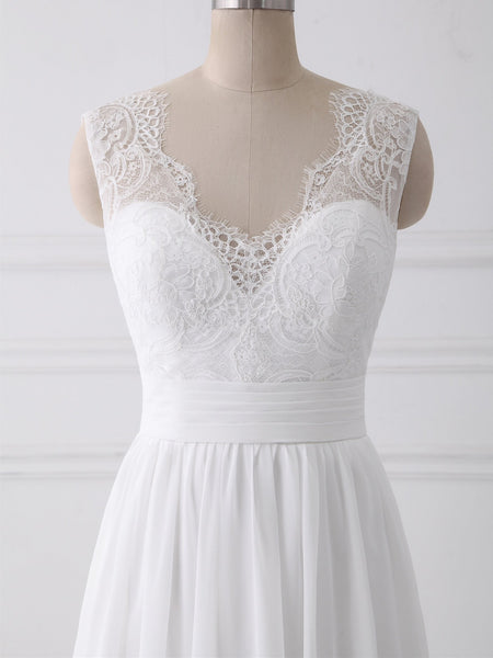 V Neck Lace Straps Simple Custom Cheap Beach Wedding Dresses, WD317