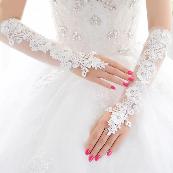 Bridal Gloves, French Lace Gloves, Floral Rhinestone Bridal Gloves, Long Design Fingerless Gloves, Wedding Gloves, TYP0548