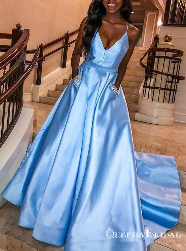 A-Line Sky Blue Satin Spaghetti Straps Prom Dresses With Pocket, QB0714