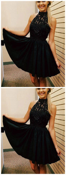 Cheap Short Lace Beaded Halter Black Homecoming Dresses 2018, CM481