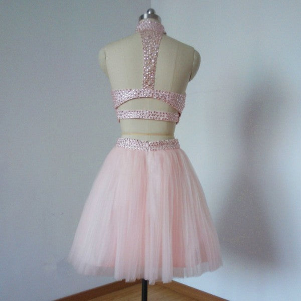 Two Piece High Neck Beading Short Cheap Pink Tulle Homecoming Dresses, QB0181