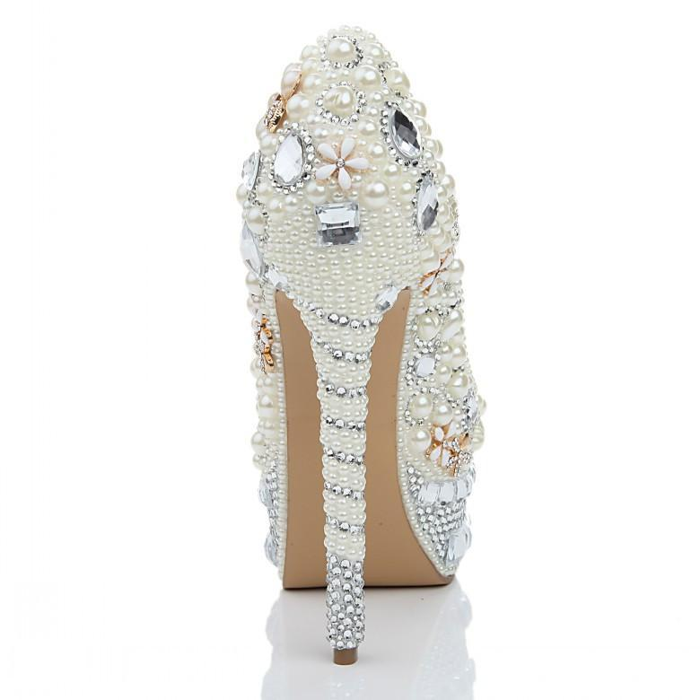 Super High Heels Handmade Pearls Rhinestone Pointed Toe Crystal Wedding Shoes, S032