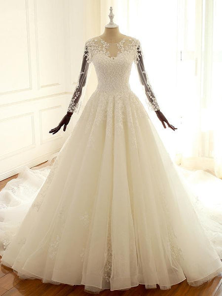 Long Sleeve Lace Long Custom Cheap Custom Wedding Dresses, WD305