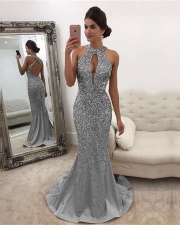 Long Champagne Satin Halter Prom Dresses Mermaid Crystal Beaded, QB0541