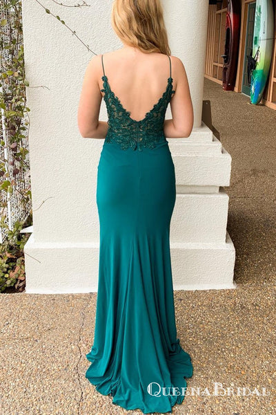 Spaghetti Strap Mermaid V-Back Long Teal Cheap Prom Dresses with Slit, QB0767