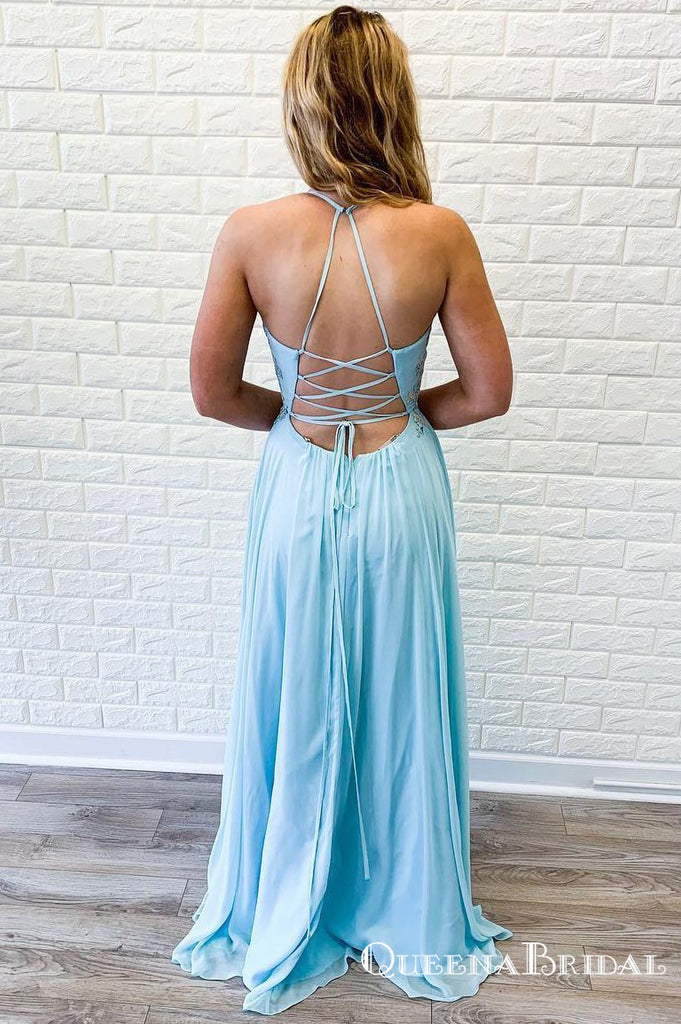 Deep V-neck  Lace-Up Long Cheap Sky Blue Prom Dresses with Appliques, QB0766