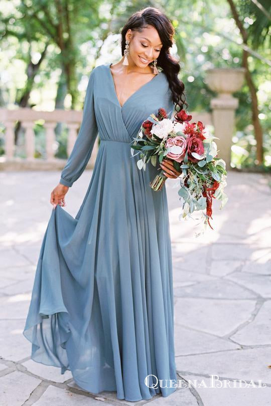 Simple V Neck Long Sleeve Backless A Line Chiffon Bridesmaid Dresses, QB0849