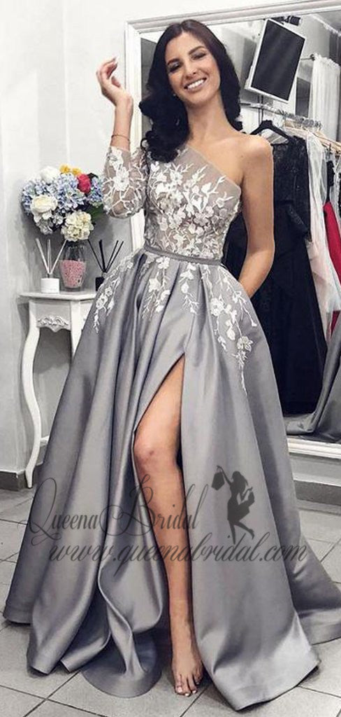 2019 Grey One Shoulder Long Sleeves Lace Long Evening Prom Dresses, QB0406