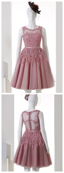 Pink Illusion See Through Lace Beaded Short Cheap Homecoming Dresses Online, CM568
