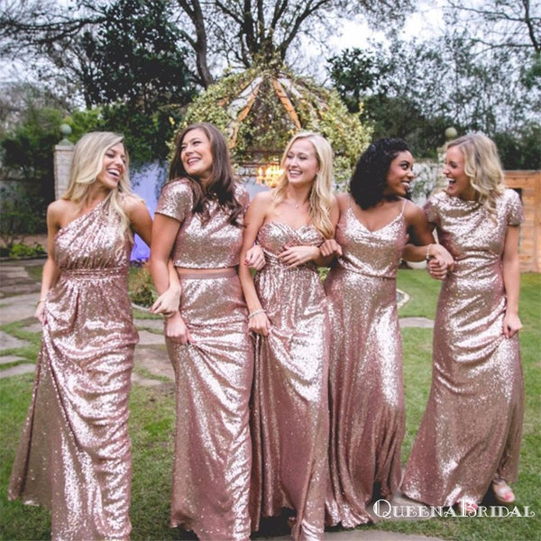 Mismatched Long Cheap Rose Gold Sequined Bridesmaid Dresses, QB0487