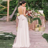 Sexy Deep V-Neck Backless White Chiffon Gold Sequin Bridesmaid Dresses Online, QB0149