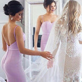 Mermaid Spaghetti Strap Long Cheap Lavender Satin Bridesmaid Dresses Online, QB0152