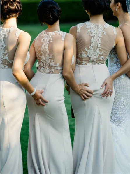 Sexy Mermaid Jewel Long Cheap Gray Bridesmaid Dresses with Appliques, QB0153