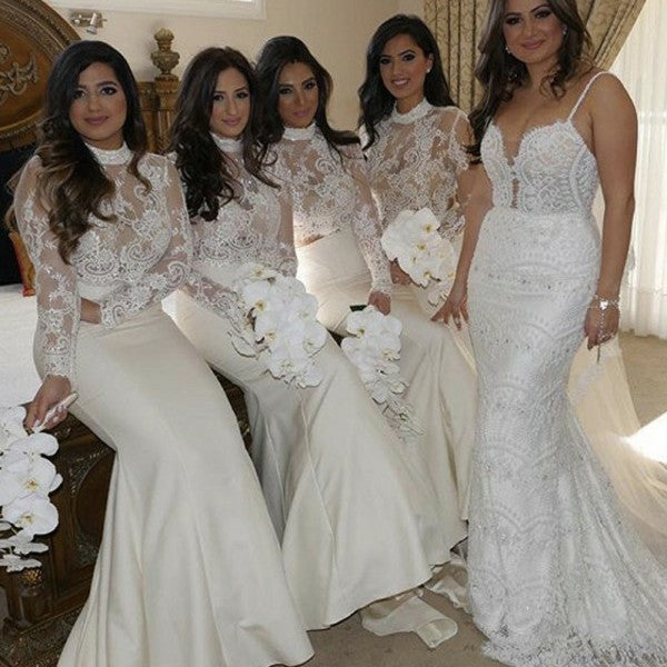 Mermaid High Neck Long Sleeves Long Cheap Ivory Bridesmaid Dresses with Lace, QB0155